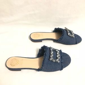 Vince Camuto Shoes - Vince Camuto Jeweled Denim Slippers BP-FAVYAN